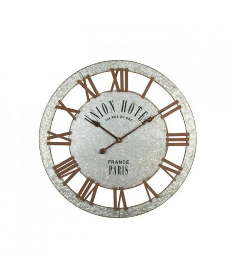 Horloge murale effet métal - Acier - Ø68x3 cm - Style classique et industriel - 1 pile LR06 (AA, 1,5V) non fournie