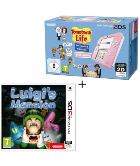 Console 2DS Rose / Blanc avec Jeu Tomodachi Life Préinstallé + Luigi's Mansion Jeu 3DS