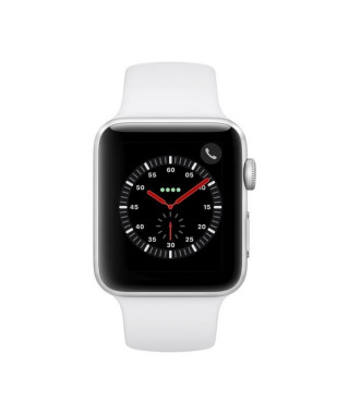 Apple Watch Series 3 GPS + Cellular, 42mm Boîtier en aluminium argenté avec bracelet sport blanc