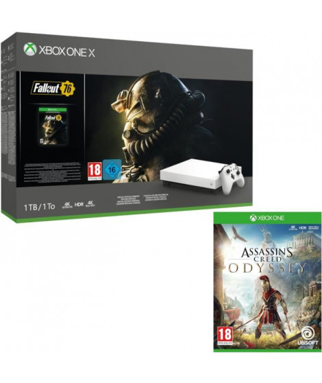 Xbox One X 1 To Fallout 76 Edition limitée Robot White + Assassin's Creed Odyssey