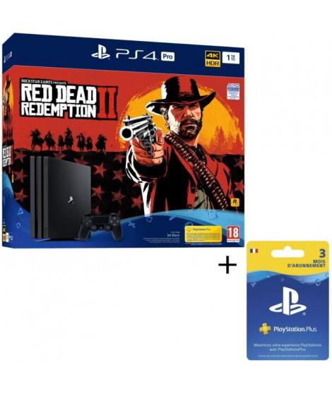 Pack PS4 Pro 1To Noire + Red Dead Redemption 2 Edition Standard + Abonnement Playstation Plus 3 Mois