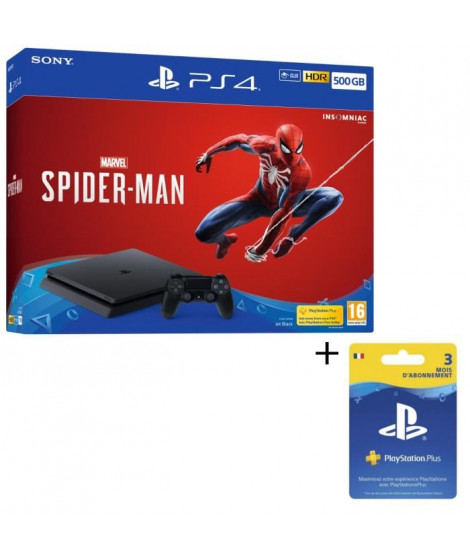 Pack PS4 1 To Noire + Marvel's Spider-Man + Abonnement Playstation Plus 3 Mois