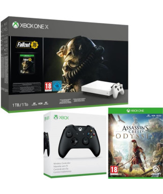 Xbox One X 1 To Fallout 76 Edition limitée Robot White + Assassin's Creed Odyssey + manette