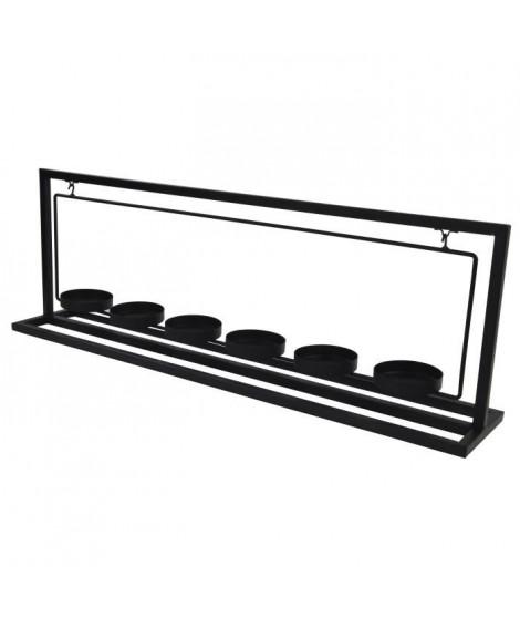 Porte-bougie en métal - 6 verres transparent - 56 x 11 x 19 cm - Noir