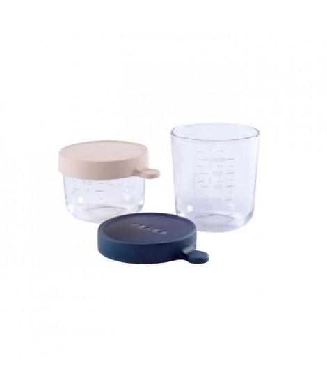 BEABA Coffret 2 portions verre 150 ml pink/250 ml dark blue