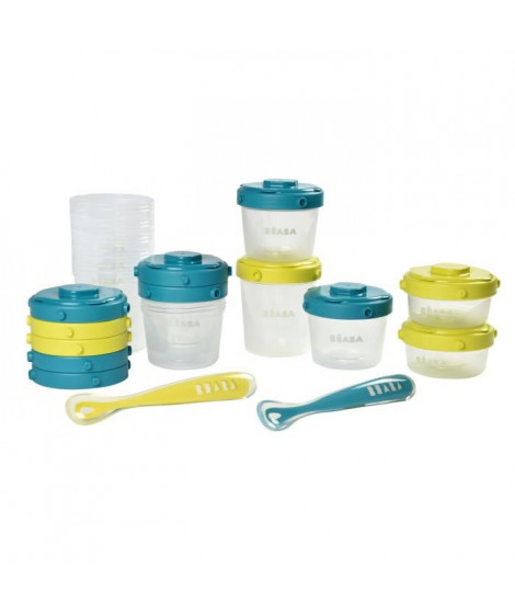 BEABA Pack 1er repas - set portions clip+cuillere 1er âge silicone - néon/blue