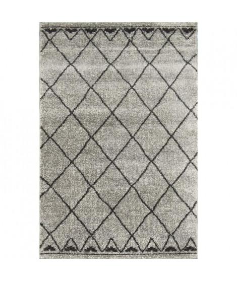 TOUAREG Tapis de couloir style berbere - 60 x 110 cm - 100% polypropylene - Gris et noir