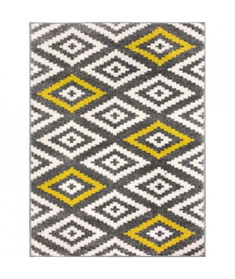 TAVLA Tapis de couloir moderne - 50  x  80 cm - 100% polypropylene frisée - Jaune