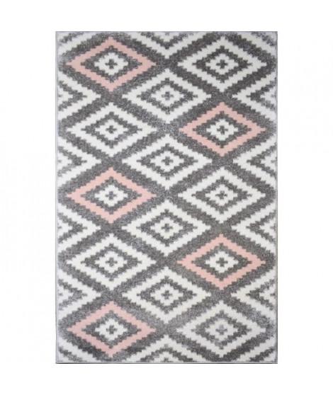 TAVLA Tapis de couloir moderne - 50  x  80 cm - 100% polypropylene frisée - Rose
