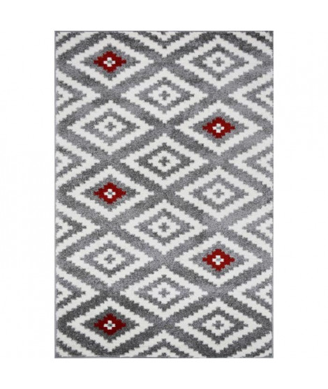 TAVLA Tapis de couloir moderne - 80  x  150 cm - 100% polypropylene frisée - Rouge