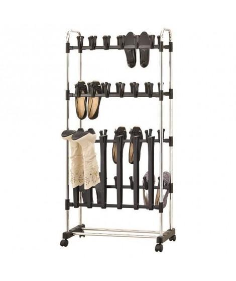 M-HOME Portant Chaussures a Roulettes - 78x33x10 cm - Couleur métal
