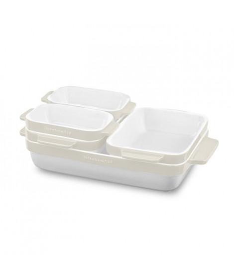 KITCHENAID KBLR05SBAC - Set de 5 plats a four en céramique vitrifiée durable - Blanc et creme