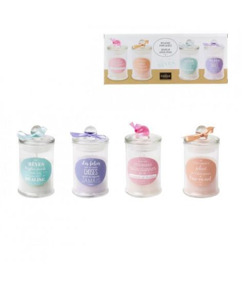 THE CANDLE FACTORY Lot de 4 bougies Bonbonniere - Violet, rose, vert et orange
