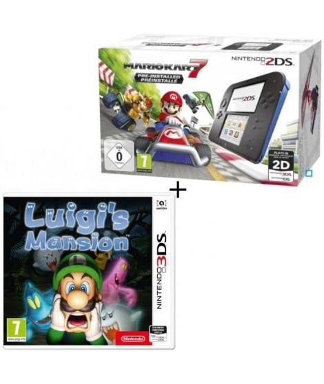 Console 2DS Bleue + Mario Kart 7 Préinstallé + Luigi's Mansion Jeu 3DS
