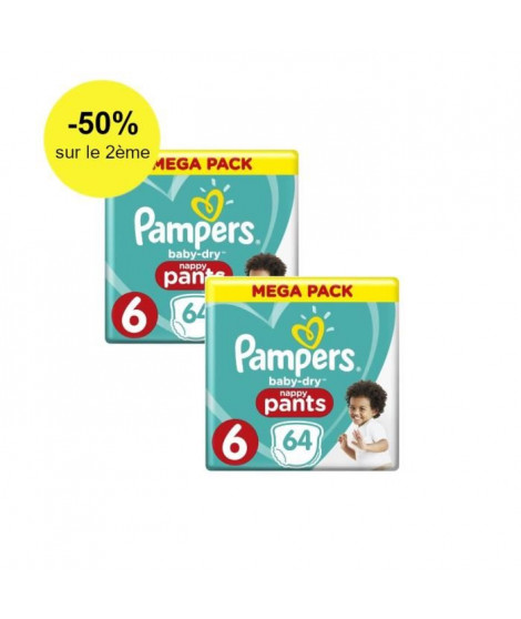 Pampers Baby-Dry Pants Taille 6, 15+ kg, 128 Couches-Culottes - Lot de 2 Paquets MEGA