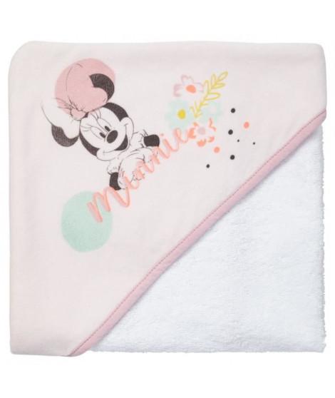 DISNEY Cape de bain 80 x 80 cm Minnie Floral - Capuche Velours impression 100% polyester - Eponge 100% coton 340g