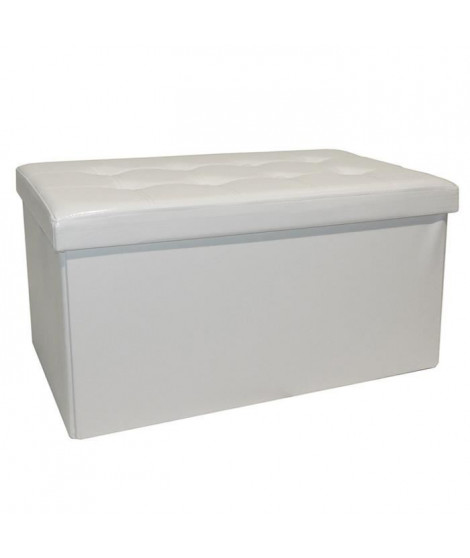 COTTON WOOD Banc Coffre pliable PU - 76 x 38 x h38 cm - Blanc