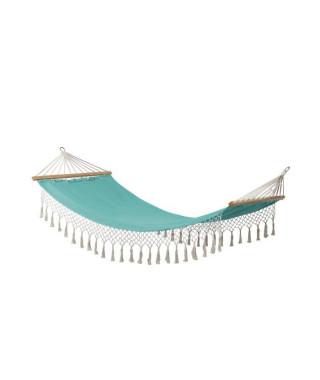 Hamac a franges Bocarnea - 100 x 200 cm - Coton 300 mg - Couleur turquoise naturel