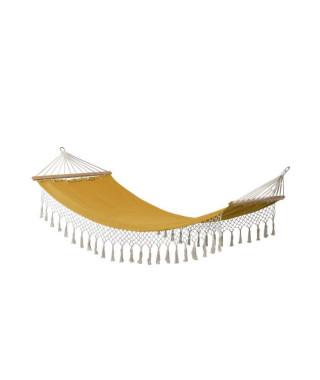 Hamac a franges Bocarnea - 100 x 200 cm - Coton 300 mg - Couleur jaune moutarde