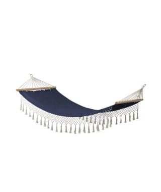 Hamac a franges Bocarnea - 100 x 200 cm - Coton 300 mg - Couleur bleu jean