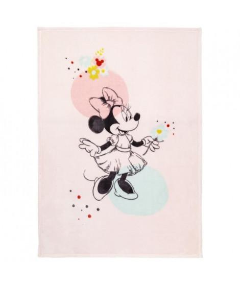 DISNEY Couverture Minnie Floral - Flanelle fleece impression 100% polyester - 100 x 140 cm