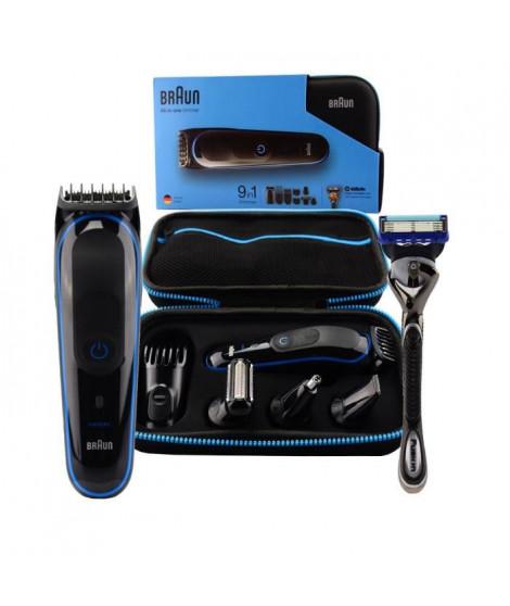 BRAUN MGK3980 Kit tondeuse polyvalente - Avec accessoires - Noir et bleu