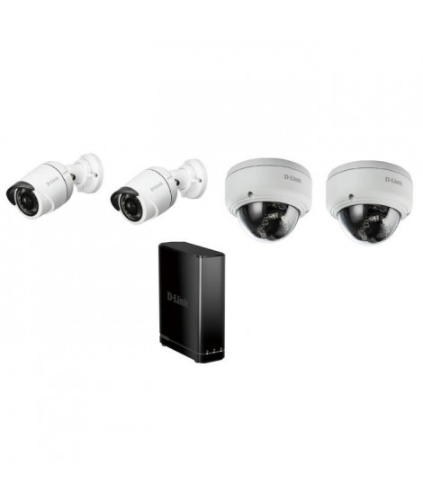 D-LINK Pack de 4 caméras de surveillance extérieures DCS4701E et DCS-4602EV avec enregistreur numérique DNR-312L