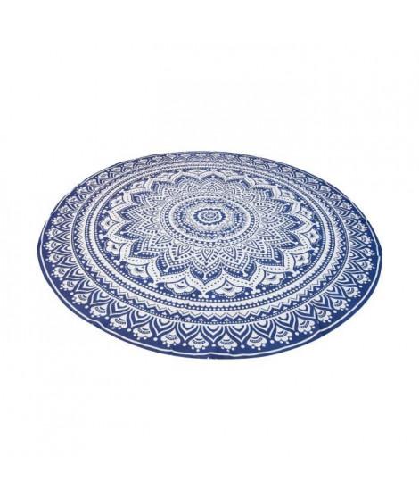 SOLEIL D OCRE Fouta ronde 100% coton MUMBAI D.180cm - Bleu