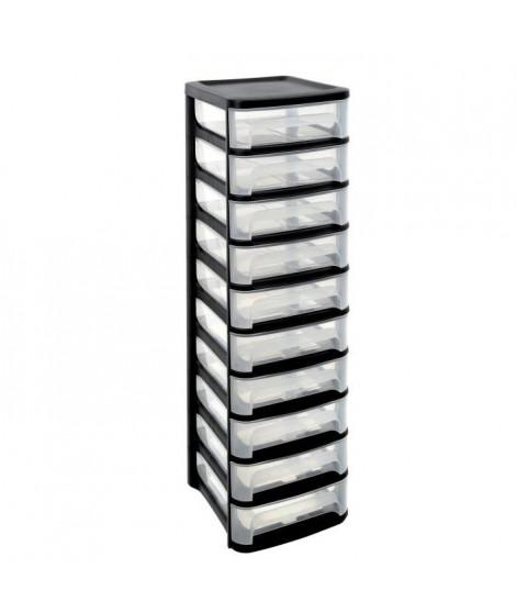 EDA Tour de rangement City - 10 tiroirs - Noir et transparent