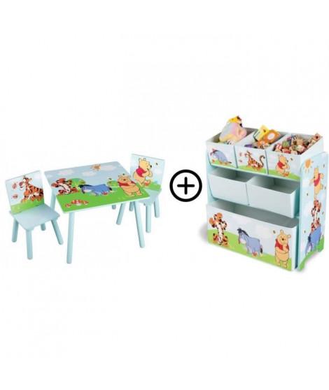 WINNIE - Deltakids - Table et Chaises en bois + Coffre Etagere en tissu et métal - chambre Enfant - Mixte