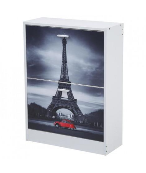 Meuble a chaussures classique décor blanc et imprimé Tour Eiffel - L 60 cm