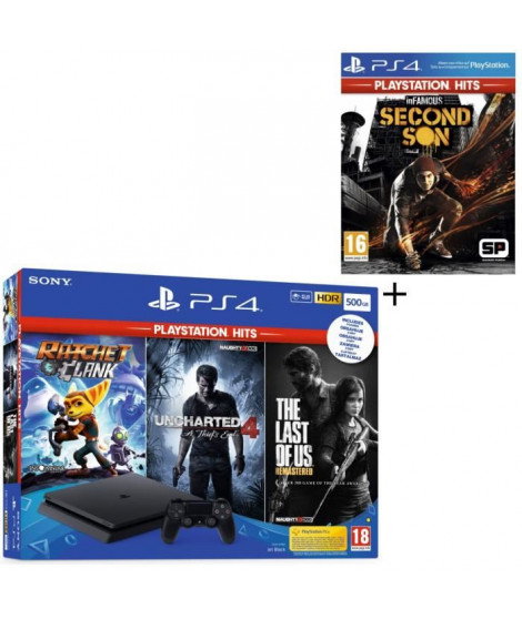 Pack PS4 500 Go Noire + 4 Jeux PS Hits : The Last of Us Remastered + Ratchet & Clank + Uncharted 4 A Thief's End + InFamous S…