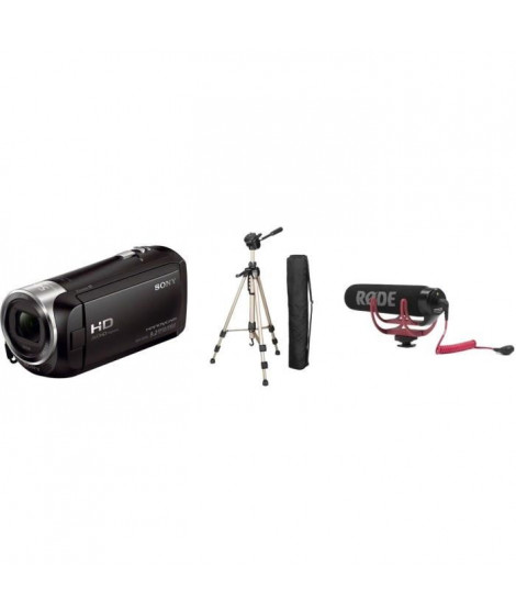 Camescope Sony HDRCX240EB + RODE Microphone compact VideoMic GO + HAMA STAR 61 Trepied