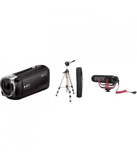 Camescope Sony HDRCX240EB + RODE Microphone compact VideoMic GO + HAMA STAR 61 Trepied