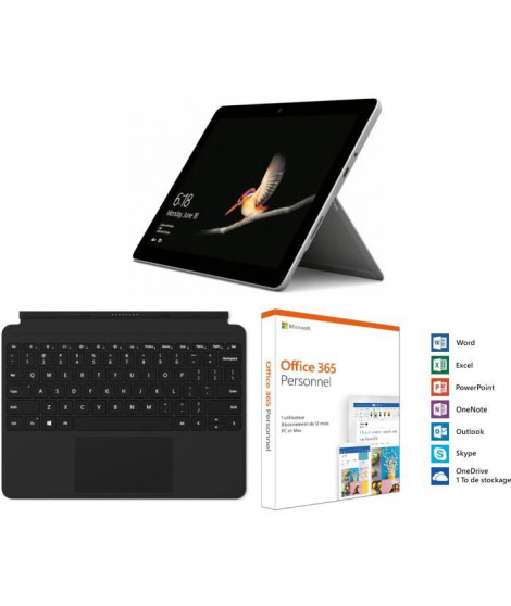 Surface Go 8Go RAM 128Go SSD + Type Cover Noire + Office 365 Perso