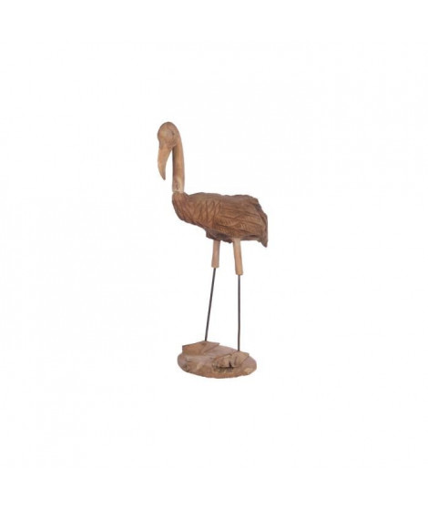 Flamant rose en teck naturel - 100 cm - Marron naturel