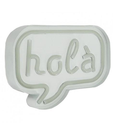 Décoration néon Hola - Structure en métal, plastique et cuivre - 24 x 4,5 x 18 cm - 3 piles AA non fournies