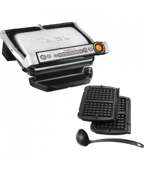 TEFAL GC716D Optigrill Grill + Accessoires pour gaufres - 2000 W - Noir / Acier inoxydable