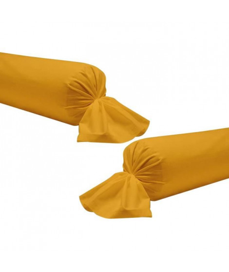 TODAY Lot de 2 taies de traversin 100% coton - 45x185 cm - Jaune safran