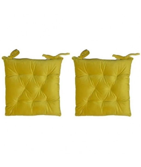 Lot de 2 galettes de chaise velours 8 points - 40x40 cm - Curry