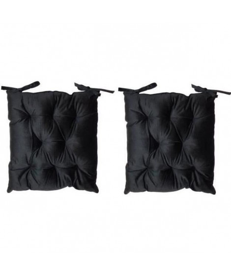 Lot de 2 galettes de chaise velours 8 points - 40x40 cm - Noir