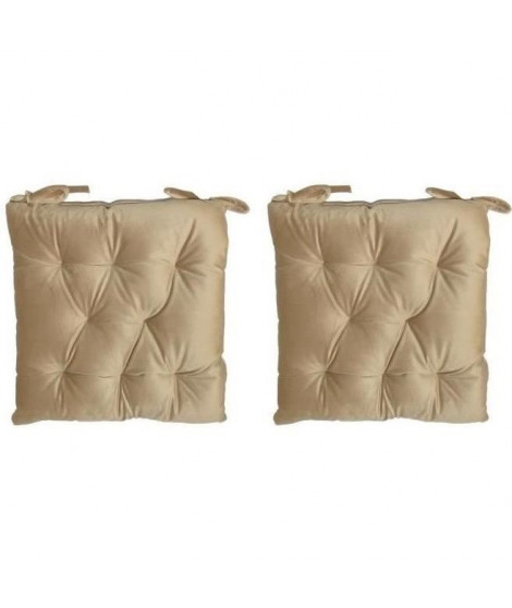 Lot de 2 galettes de chaise velours 8 points - 40x40 cm - Beige