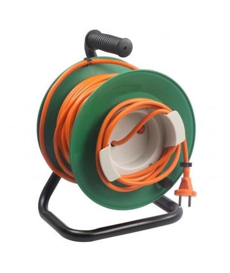 ZENITECH Enrouleur électrique 25m sans prise 2x1,5 mm² avec pied en métal et coupe circuit