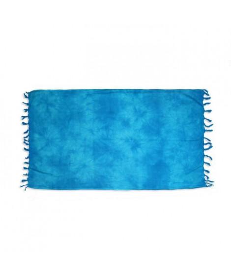 SOLEIL D OCRE Fouta de bain Tie and Dye - 100% coton - 80x150 cm - Bleu turquoise