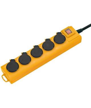 BRENNENSTUHL Multiprise Super-Solid 5 prises avec clapets (IP54, robuste, 2m de câble, avec crochet), Noir & Jaune