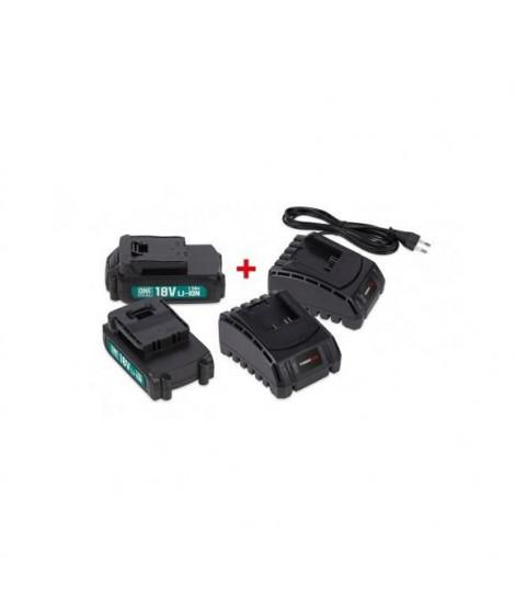 POWER PLUS  POWEB9090 2 x batterie 18v li 1.5ah + 2 x chargeur poweb9090