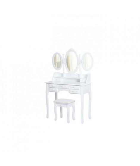 Coiffeuse en bois paulownia blanc + 1 tabouret - Style classique - L 90 cm
