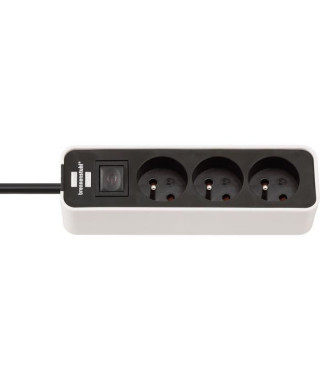 BRENNENSTUHL Multiprise ECOLOR 3 prises (câble 1,50m H05VV-F3G1.0, avec interrupteur), Blanc/Noir