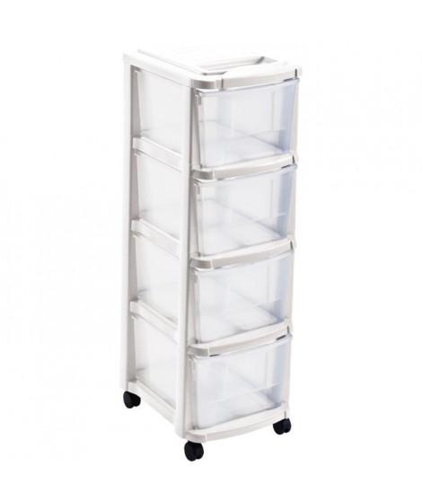 M- HOME Tour de rangement 4 tiroirs - Blanc - L 29 x 39 x 84 cm