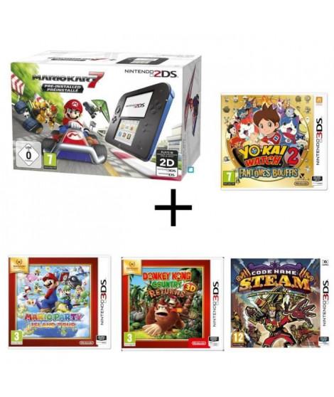Nintendo 2DS + Mario Kart 7 + Donkey Kong Country + Mario Party Island Tour + Yo-Kai Watch 2 : Fantômes Bouffis